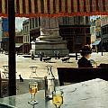 Cafe In A City Square by Eliseo Meifren y Roig
