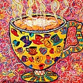 Cafe Latte - Coffee Cup With Colorful Coffee Cups Some Pink And Bubbles  by Ana Maria Edulescu