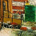 Cafe Terrace With Posters by Pg Reproductions