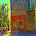 Cafe Window Corner Rue Fabre Near The Bicycle Stand Art Of Montreal Summer Street Scene  by Carole Spandau