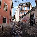 Calcada Da Gloria Street In Lisbon by Artur Bogacki