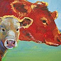 Calf And Cow Painting by Mike Jory
