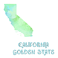 California - Golden State - Map - State Phrase - Geology by Andee Design