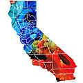 California - Map Counties By Sharon Cummings by Sharon Cummings