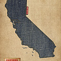 California Map Denim Jeans Style by Michael Tompsett