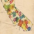 California Map Vintage Watercolor by Florian Rodarte