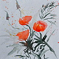 California Poppies Sumi-e by Beverley Harper Tinsley