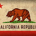 California State Flag Art On Worn Canvas by Design Turnpike
