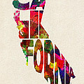California Typographic Watercolor Map by Inspirowl Design