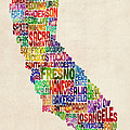 California Typography Text Map by Michael Tompsett