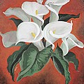 Calla Lilies On A Red Background by Taiche Acrylic Art