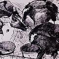 Calves, Damp, Newborn, 1978 Pen & Ink On Paper by Brenda Brin Booker