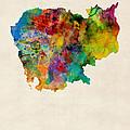 Cambodia Watercolor Map by Michael Tompsett