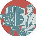 Cameraman Filming With Vintage Tv Camera by Aloysius Patrimonio