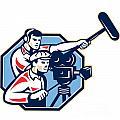 Cameraman Vintage Camera Soundman Boom Retro by Aloysius Patrimonio