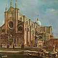 Campo Dei Santi Giovanni E Paolo And The Scuola Grande Di San Marco, Venice Oil On Canvas by Francesco Guardi
