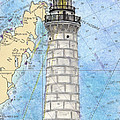 Cana Island Lighthouse Wi Nautical Chart Map Art by Cathy Peek