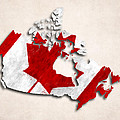 Canada Map Art With Flag Design by World Art Prints And Designs