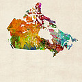 Canada Watercolor Map by Michael Tompsett