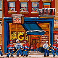 Canadian  Artists Paint Hockey And Montreal Streetscenes Over 500 Prints Available  by Carole Spandau