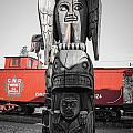 Canadian Totem And Railway by Roxy Hurtubise