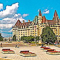 Canadian War Memorial And Chateau Laurier In Ottawa-ontario  by Ruth Hager