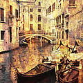 Canal And Docked Gondolas In Venice by Greg Matchick