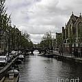 Canal Behind Oude Kerk In Amsterdam by Teresa Mucha