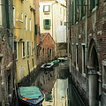 Canal Boats And Reflections Venice Italy by Marianne Campolongo