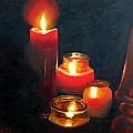 Candles And Lamp by Uma Krishnamoorthy