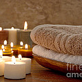 Candles And Towels In A Spa by Olivier Le Queinec