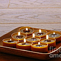 Candles In Wood Tray by Olivier Le Queinec