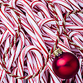 Candy Cane And Red Ornament by Garry Gay
