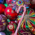 Candy Canes And Colorful Ornaments by Garry Gay