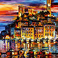 Cannes-france - Palette Knlfe Oil Painting On Canvas By Leonid Afremov by Leonid Afremov