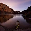 Canoe In Lake Near Shore, Arizona by Whit Richardson