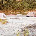 Canoe Tent Camp At Yukon River In Taiga Wilderness by Stephan Pietzko
