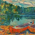 Canoes At Mountain Lake by Kendall Kessler