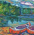 Canoes At Mountain Lake Sketch by Kendall Kessler
