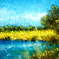 Canola Fields Impressionist Landscape Painting by Michelle Wrighton