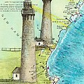 Cape Ann Twin Lighthouses Ma Nautical Chart Map Art Cathy Peek by Cathy Peek