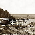 Cape Creek Bridge And Heceta Oregon Head Lighthouse  Circa1933 by California Views Archives Mr Pat Hathaway Archives
