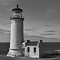 Cape Disappointment Oregon B/w by Marie Fleming
