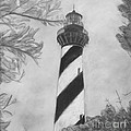 Cape Hatteras Light Black And White by Cathy Lindsey