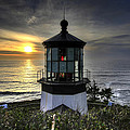 Cape Meares Lighthouse At Sunset by David Gn