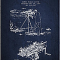 Capps Machine Gun Patent Drawing From 1899 - Navy Blue by Aged Pixel
