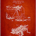 Capps Machine Gun Patent Drawing From 1899 - Red by Aged Pixel