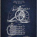 Capps Machine Gun Patent Drawing From 1902 - Navy Blue by Aged Pixel