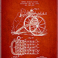 Capps Machine Gun Patent Drawing From 1902 - Red by Aged Pixel