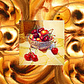 Cappuccino Abstract Collage Cherries by Irina Sztukowski